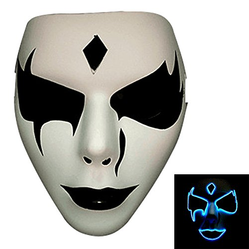 [Bonamana Luminous Light Up Mask Costume EL LED Wire Halloween Mask Death Grimace Masks Masquerade] (Rorschach Halloween Costumes)