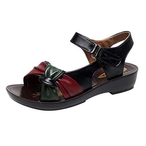 confort de compensées été ali d'été cuir femme pour avec en Bass Sandales chaussures Open Waitfor élégantes plage Toe Summer Summer OvgqBUwH
