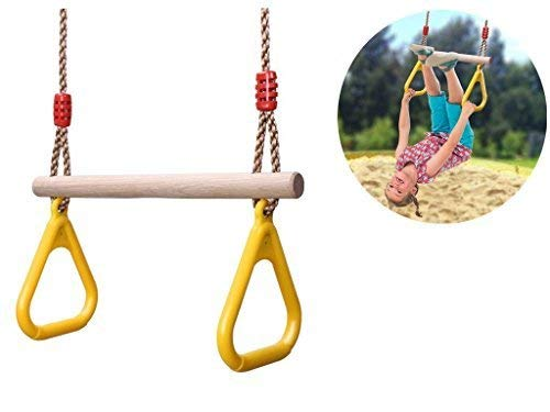 comingfit Wooden Trapeze Swing with Plastic Triangular Gym Rings for Kids by comingfit