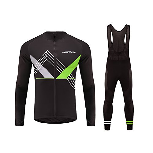 Uglyfrog #01 2018 New Mens Fasion Colourful Cycling Jersey Long Sleeve Shirts+ Long Bib Tight Winter with Fleece Style Kit