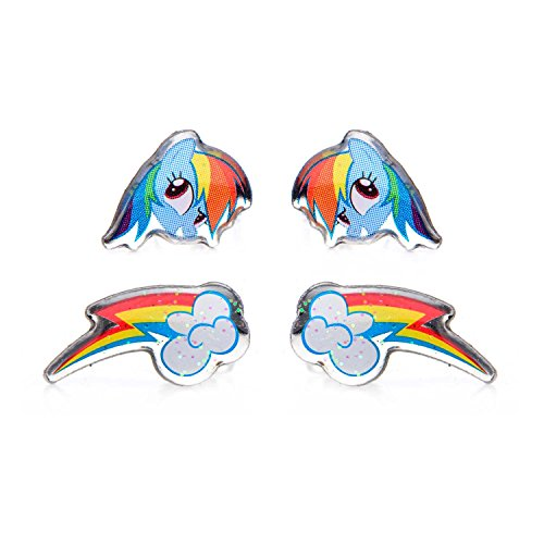 Pony Earring (MY LITTLE PONY SURGICAL STAINLESS STEEL EARRINGS - 2 PACK (Rainbow Dash and Cutie Marks))