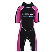 AUWAYDT Kids Wetsuits 2mm Neoprene Youth Premium Back Zip Shorty,Pink