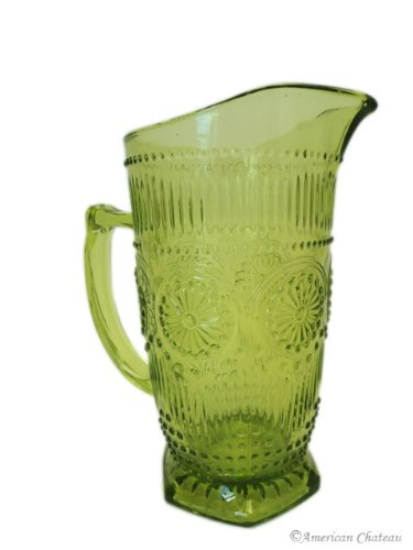 34oz / 1000ml Vintage Green Depression Pressed Glass Water Iced Tea Pitcher Jug ()