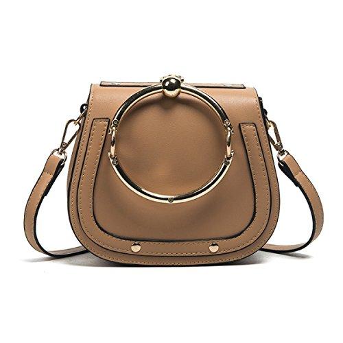 Nuevo Simple Salvaje Casual Bolsos Portátiles Hombro Messenger Bag Bolso De La Silla De Montar Brown