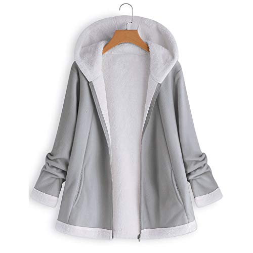 ANJUNIE Warm Winter Jacket Women's Curved Hem Longline Faux Fur Sherpa Fleece Hoodie Coat(Gray,4XL)