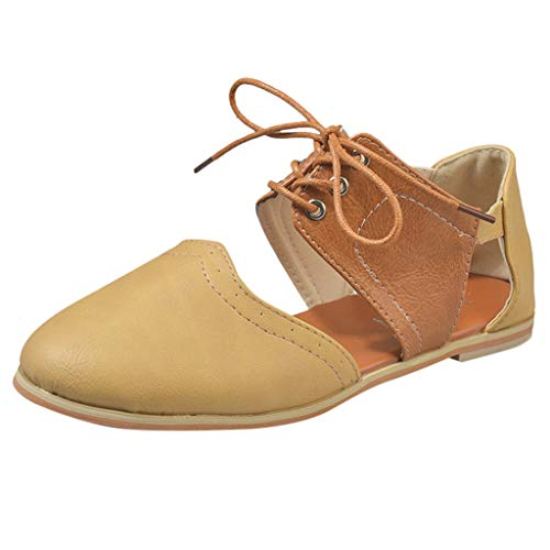 OrchidAmor Women Round Toe Rome Shoes Hit Color Hollow Lace-Up Flat Single Shoes Sandals 2019 Brown