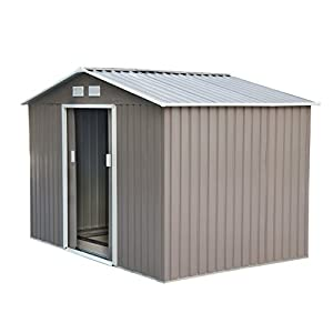 Outsunny 9'x6.3'x6.3′ Garden Shed w/Floor Foundation Outdoor Patio Yard Metal Tool Storage House w/Double Doors Grey…