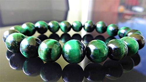 - JP_Beads Genuine Emerald Green Tiger Eye Bead Bracelet for Men Or Women (On Stretch) 10mm AAA Quality