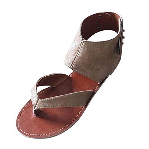 FORUU Summer Women Sandals Flats Fashion Shoes Casual Rome Style Sandals Casual (37, Khaki) by FORUU womens shoes (Image #3)