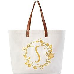 ElegantPark Monogram S Personalized Jumbo Tote Bag with Interior Zip Pocket Canvas