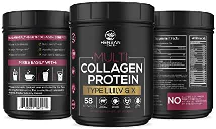 Multi Collagen Protein 16oz - Non GMO, Gluten Free, Grass-Fed, Wild Caught Red Snapper, Cage Free Chickens, Egg Shell -Premium Support- Essential Amino Acids, Easily Mixed, Flavorless   58 Servings
