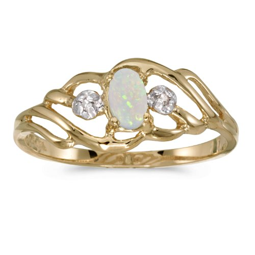 Jewels By Lux 14k Yellow Gold Genuine Birthstone Solitaire Oval Opal And Diamond Wedding Engagement Ring - Size 6.5 (0.08 ()
