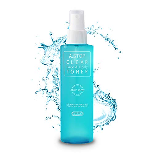a.stop acne treatment spray for face & body | AHA/BHA  treatment | upside-down pump for back, chest, butt, shoulder | clarifying toner korean skincare for women and men