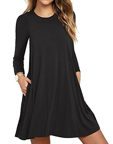 Women's Long Sleeve Pocket Casual Loose T-Shirt Dress Black Large