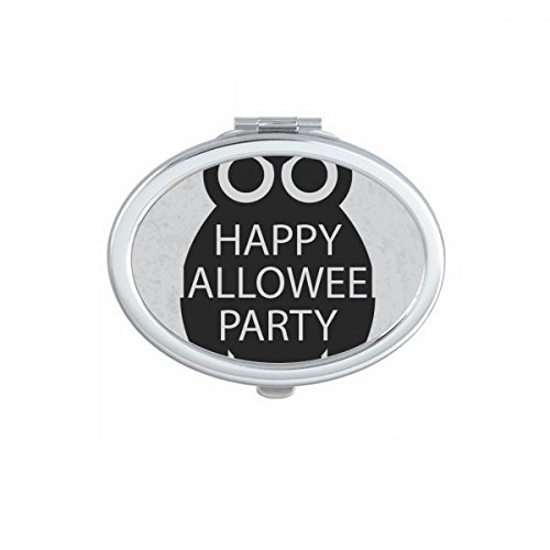 DIYthinker Halloween Simple Black Cartoon Owl Oval Compact Makeup Pocket Mirror Portable Cute Small Hand Mirrors Gift -