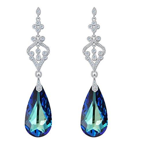 - EVER FAITH 925 Sterling Silver CZ Teardrop Chandelier Dangle Earrings Bermuda Blue Adorned with Swarovski crystals