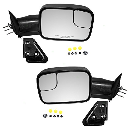 Driver and Passenger Manual Side Tow Mirrors 7x10 Flip-Up with Mounting Brackets Replacement for Dodge Pickup Truck 55156335AD 55156334AD AutoAndArt