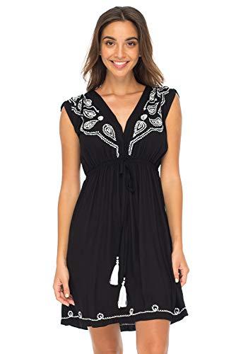 Back From Bali Womens Dress Boho Embroidered Sleeveless Summer Sundress Deep V Neck Midi Short Dress Black S/M
