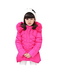 KONF Teen Toddler Baby Girls Down Jacket Winter Warm Clothes,Fur Hooded Coat Snowsuit Thick Outerwear