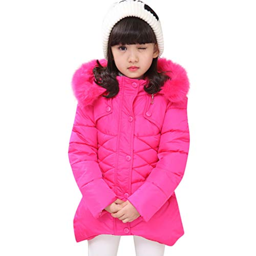 Height 6 Material - Joint Child Kids Girls Winter Warm Jackets Snowsuit Hooded Windbreaker Outwear with Soft Fur Hoodies for 2-8 Years Old (6-7 Years/Height:145-150CM, Hot Pink)