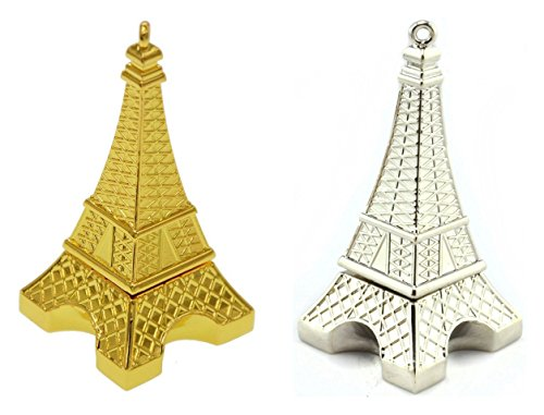 WooTeck 2 Pack 16GB Metal Eiffel Tower USB Flash Drive (Golden and Silver)