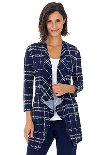 Plaid Knit Jacket - Rekucci Travel in Style - Women's Essential Fluid Throw Over Jacket (X-Small,Navy/Ivory Plaid)