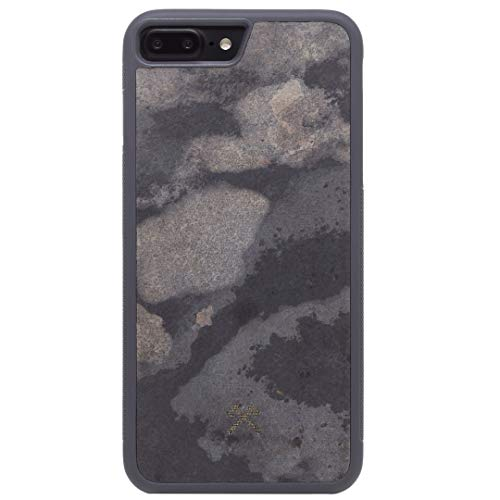 Woodcessories EcoBump Stone - Premium Design Case, Hand-Crafted Cover, Protection for iPhone Made of Real Slate (iPhone 7 Plus/8 Plus, Camo Gray)