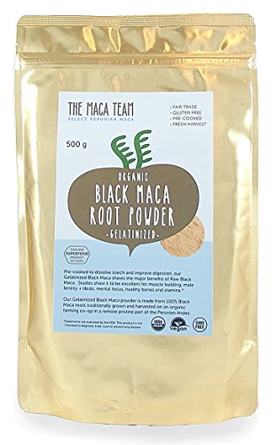 Gelatinized Black Maca Root Powder - Fresh Harvest From Peru, Certified Organic, Fair Trade, Gmo-free, Gluten Free, and Vegan, 1 Lb Lb - 50 Servings