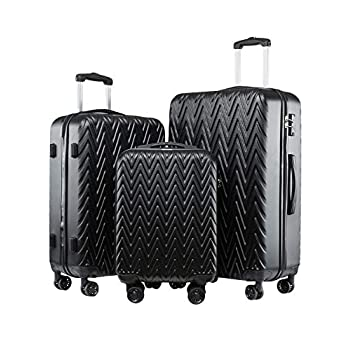 Image of Seanshow Luggage 3 Piece Set TSA Lock Black Travel 3PCS Luggage Set 18-24-28in Luggage