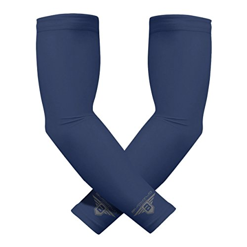 Bucwild Sports Compression Arm Sleeves (Pair) Youth & Adult Sizes Football, Baseball, Basketball, Cycling, Tennis Navy Blue Youth Large YL