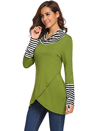 Stripe Turtleneck Top (Halife Women Turtleneck Top Stripes Tee Casual Blouses Long Sleeve T Shirts Army Green,M)