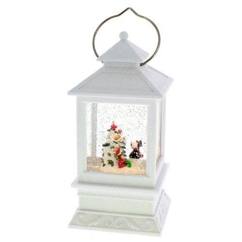 "Roman Inc. 8.5""H LED White Lantern with Snowman Winter Scene Glitter Dome Snow Globe"