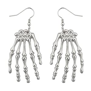 Lux Accessories Skeleton Hand Goth Halloween Drop Earrings