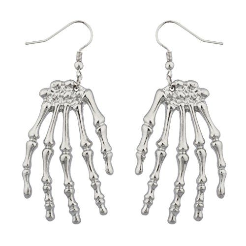 Lux Accessories Skeleton Hand Goth Halloween Drop Earrings  ()