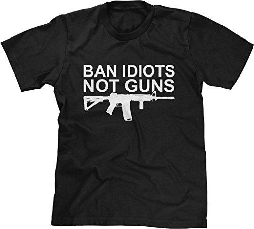 Blittzen Mens T-shirt Ban Idiots Not Guns, L, - Ban L
