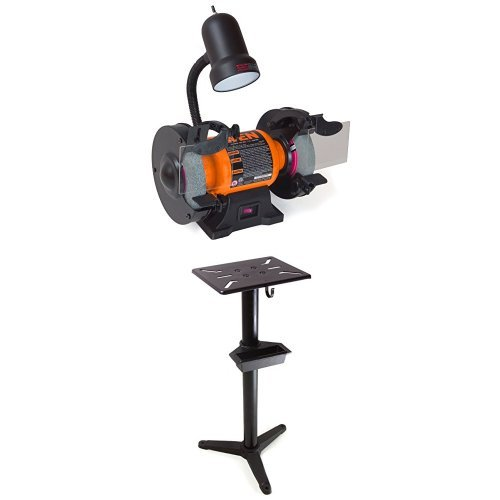 WEN 4276 6-Inch Bench Grinder with Cast Iron Bench Grinder Pedestal Stand with Water Pot