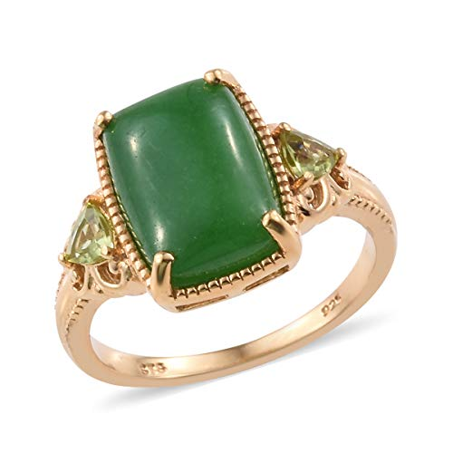 925 Sterling Silver Statement Ring for Women Vermeil Yellow Gold Dyed Color Green Jade Peridot Size 9