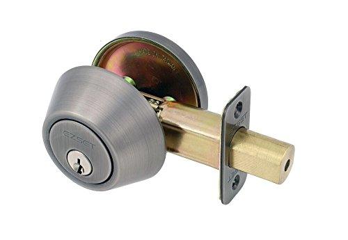 EZ-Set 231008 Single Cylinder Deadbolt, Pewter ()