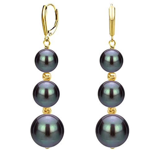 Graduated Diamond Drop Pendant - Graduated Freshwater Cultured Dyed-black Pearl and Sparkling Beads Lever-back Earrings in 14k Yellow Gold