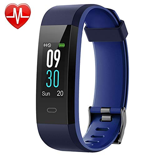 YAMAY Fitness Tracker, Heart Rate Monitor Watch Fitness Watch Activity Tracker IP68 Waterproof Pedometer with Step Counter Sleep Monitor 14 Sports Tracking for Women Men Kid (Color Screen) (Blue)