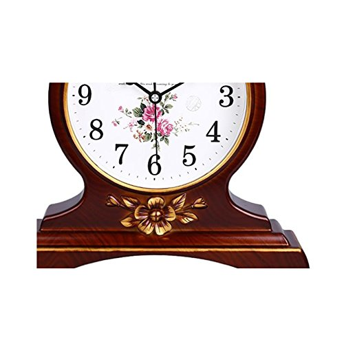 HAOFAY European Solid Wood Golden Mute Desk and Shelf Clock Decoration, Silent Quartz Table Clock Desk Clock by HAOFAY (Image #2)
