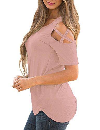 3d553d7b76caac Utyful Women s Pink Casual Crisscross Cold Shoulder Short Sleeve Blouse T-Shirt  Top Size Medium