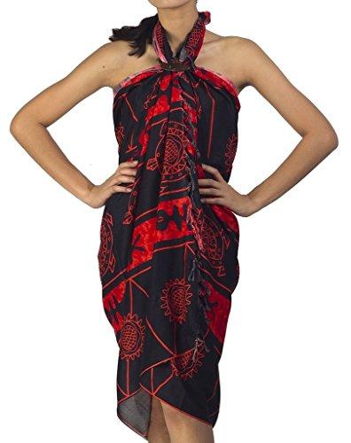 Siam Secrets Batik Print Sarong Unisex Shawl or Black Tribal Pareo Beach Wrap Red ()