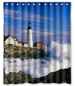 Lighthouse Beautiful City And Town Scenery Sea Wave White Cloud Waterproof Polyester Fabric Shower Curtain 60X72 inch (Fabric Lighthouse Shower Curtain)