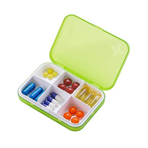 KCQI Separate Pill Case Medicine Box Six Grid Multi-Function Medicine Storage Box Square (Color : Green)