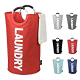 DOKEHOM DKA0001RDXL X-Large Laundry Basket (6 Colors, L and XL) with Coin Bag, Collapsible Fabric Laundry Hamper, Foldable Clothes Bag, Folding Washing Bin (Red, XL)
