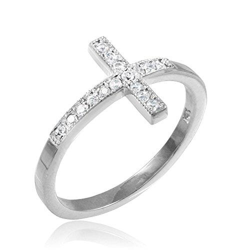 Ring Cross Fashion Religious (10k White Gold CZ Sideways Cross Ring (6))