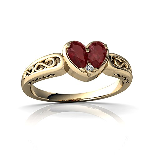 14kt Yellow Gold Ruby and Diamond 5x3mm Pear filligree Heart Ring - Size 9