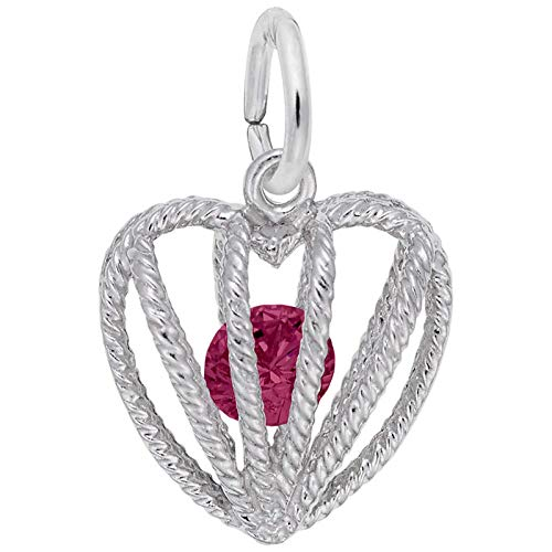 (Rembrandt Charms July Heart Charm, Sterling Silver)