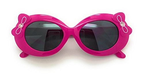 MyUV Baby and Children Bold Retro Oval Mod Thick Frame Cute Sunglasses Clout Goggles (Age;2-10) (Dark Pink, - Goggles Baby Sun